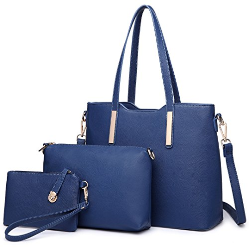 Miss Lulu Women Fashion Handbag Shoulder Bag Purse Faux Leather Tote 3 Piece (Navy)