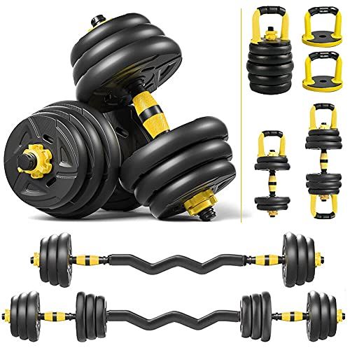 DOUBLX 4 in 1 Adjustable Dumbbell Sets, 40 Lb Multifunctional Dumbbell Kettlebell Sets Barbell Weight Set for Home Gym, Culr Bar Dumbellsweights for Men and Women