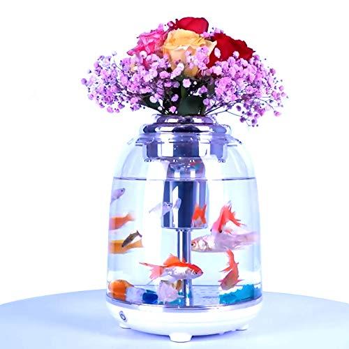 Mini-Fischtank fördert eine gesunde Umgebung für Pflanzen und Fische, 4,5 l, für den Schreibtisch, kleines Aquarium für Betta, kleine Goldfische, Neonfische etc. (weiß)