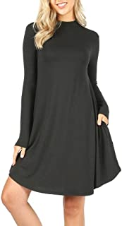 Mock Neck Long Sleeve Flowy Pocket T-Shirt Midi Dress (S-3X)