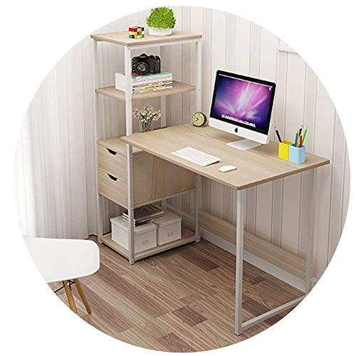 N/Z Living Equipment Tabouret de canapé Brisk Simple Bureau d'ordinateur d'angle en Bois avec 2 tiroirs de Rangement et étagère à 4 Niveaux Table pour Enfants pour Chambre à Coucher/Bureau/dortoir