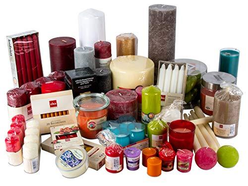 DecoLite 6 kg Kerzen Mix - Stumpenkerzen, Rustik Kerzen, Spitzkerzen, Duftkerzen, Duftgläser z.B. von Bolsius, Eika, Wiedemann, Wenzel UVM. - teilweise B-Ware