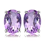 JewelryPalace Ovale 1.4ct Naturale Viola Ametista Birthstone Stud Orecchini Pure 925 Sterling Argento