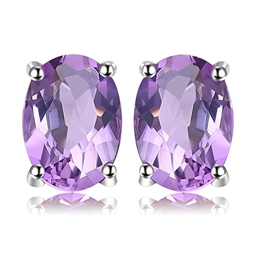 JewelryPalace Pendientes 1.4ct Genuino Amatista Oval Natural Piedra de nacimiento Aretes Plata de ley 925