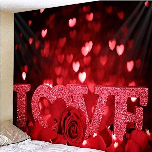 Décor de mariage Tapisserie Mur Tissu Hippie Boho Amour Rose Tapisserie Tenture murale Saint Valentin Cadeau Dortoir Matelas Tapis Mural 150 * 200 Cm