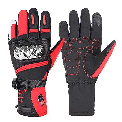 ZXLIFE@@ verwarmde handschoenen met accu, elektrische handschoenen, lange tijd warm, 30 warmte, voor fietsen/motorfiets/vissen/ski/sneeuw/wandelen/Medium rood