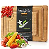 Organic Bamboo Cutting Board with Juice Groove ( Set of 3), Kitchen Chopping Board for Meat (Butcher Block) Cheese and Vegetables, As Wood Large Serving Tray Holder, Carving board