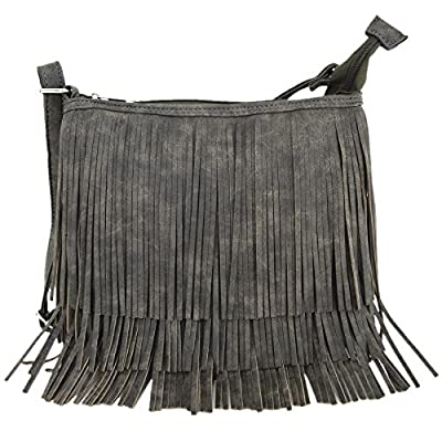 Western Cowgirl Style Fringe Cross Body Handbags Concealed Carry Purse Country Women Single Shoulder Bags (Grey)
