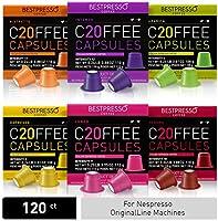 Bestpresso Coffee for Nespresso Original Machine 120 pods Certified Genuine Espresso Variety Pack Pods Compatible with...