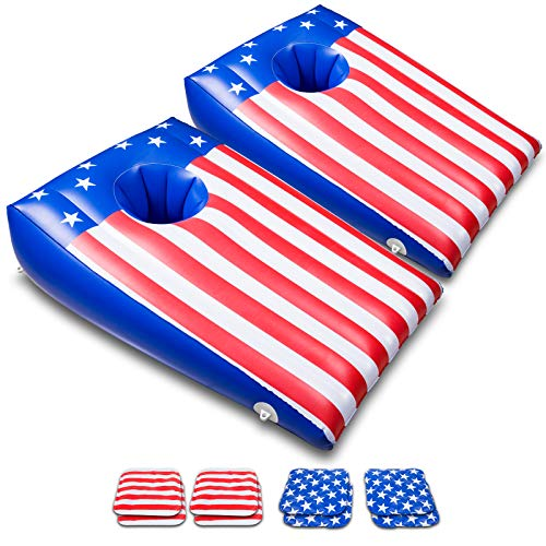 BOOMART Floating Cornhole Set, Inflatable Pool Cornhole & Floating Bean Bags Pool Games, American Flag Design Pool Toys for Teens and Adults - 2 PACK