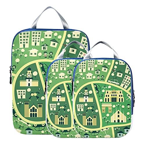 Accessori da viaggio per bagagli Mappa della città Cubi da imballaggio trasparenti semplici per viaggi Accessori da viaggio espandibili per bagagli Per bagaglio a mano, da viaggio (set di 3)