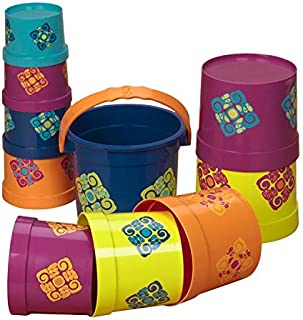 B. toys – Stacking Cups – Bazillion Buckets – 10 pcs – Colorful Nesting Cups – Bath & Backyard – Stackable Learning Toy – Toddler, Kids – 18 months +