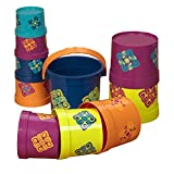B. toys – Stacking Cups – 10 pcs – Colorful Nesting Cups – Bath & Backyard – Stackable Learning Toy – Toddler, Kids – Bazillion Buckets – 18 months +