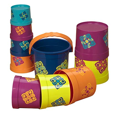 B. toys - Bazillion Buckets Nesting Cups-10 Colorful Stacking Cups for Kids 18m +, Multicolor