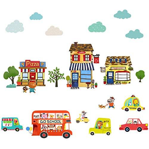 GWFVA Cartoon Kwekerij Slaapkamer Creatieve Auto Thuis Decor Lijm Papier Leuke Kwekerij Klasse Muurstickers