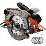 1500W 4700RPM Sierra Circular, Corte 63mm (90º), 45mm (45º), 24T+40T Cuchilla, Guía Laser, Motor...