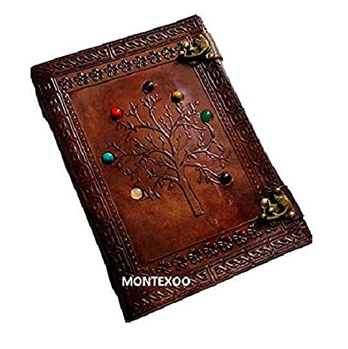 Montexoo Leather Journal Tree Of Life Diary Sketchbook Notebook with Lock for Men Women Dnd Travel Handmade Vintage Old Antique Writing Large Old Cool Brown 10 Inch