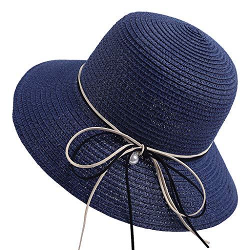 DOLDOA Hut Damen Sommer,Damen Frauen Stroh Strand Hut Sonne Sommer breiter krempe Derby Hut Floppy Faltbare Kappe (Marine)