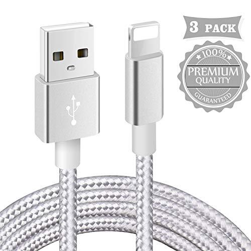 Câble iPhone【Certifié_MFi】3Pack 1m+2m+3m Tressé Nylon Câble pour iPhone 11/XS Max/XR/XS/X/ 8/7 Plus/ 6 Plus/ 6S/ 5S/ Se, iPad(Argenté)