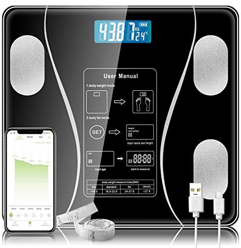 Báscula digital - Medir el peso y la grasa corporal - Báscula de baño de cristal Bluetooth más precisa (negro)