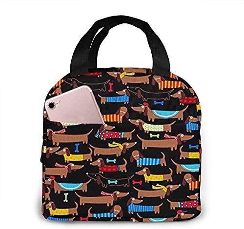 Jupsero I Love My Dog Dachshunds Lunch Bag pour femmes Filles Enfants Pochette de pique-nique isolée Gourmet Tote Cooler Pochette chaude pour le bureau de travail scolaire, le camping,