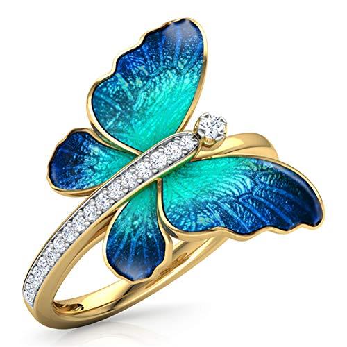 XINYIU Anillo De Diseño Anillo De Esmalte De Cristal Anillos De Compromiso Anillos De Matrimonio para Mujer Joyería Moda Arco Iris