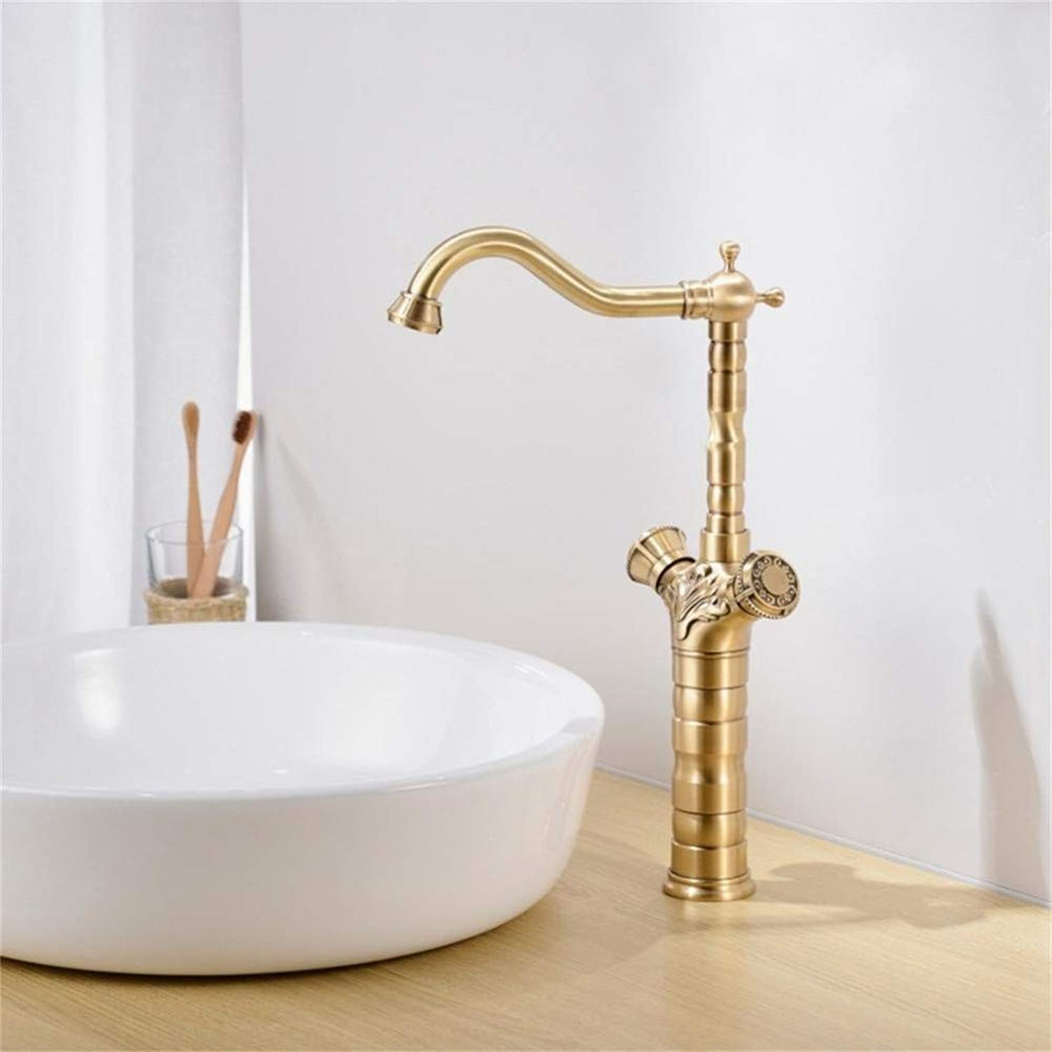 YHSGY Bathroom Sink Taps Basin Faucets Antique Brass Bathroom Faucet Basin Carving Tap redate Single Handle Hot and Cold Water Mixer Taps Crane