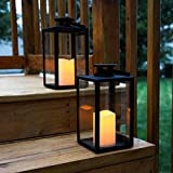 Vintage Decorative Candle Lantern - Black Metal & Glass Paneled Tabletop Lanterns, Flickering Bright LEDs, Indoor/Outdoor Use, Battery Operated, Garden Hanging Party Decor, Timer and Remote Included