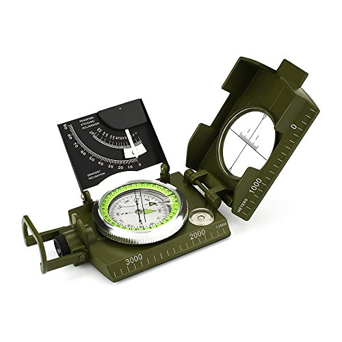 Kompass Wasserdicht Militär Marschkompass Metall Taschenkompass mit Fluoreszendem Leuchtzifferblatt , Kartenmaßstab, Neigungsmesser, Schutztasche und Tragband für Reisen Wandern Camping Jagd, Grün