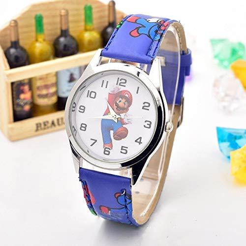 Figura de Mario Horologe Anime Mario Figura Bros Reloj Figuras Juguetes Dibujos Animados Mario Luigi Cuarzo Relojes de Pulsera Juguete para Niños Cumpleaños Regalo de Navidad