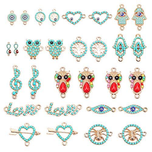 PandaHall 14 estilos de esmalte azul con colgantes de ojo azul con lazos de perlas de acrílico para hacer collares y pendientes