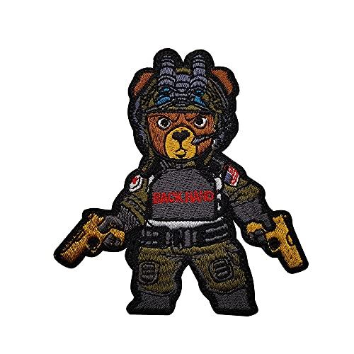 Parche táctico con diseño de oso moral militar para coser en táctico, diseño de panda, emblema con gancho y lazo, parte trasera del hombro
