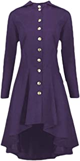 Macondoo Women's Casual Single Breasted Goth Hem Overcoat Trench Coat