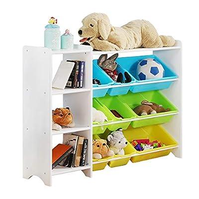 MallBest 4-Tier Kids' Toy Storage Organizer Shelf - 100% Solid Wood,Children's Storage Cabinet with 9 Plastic Bins and 1 Cloth Storage Box (White)