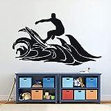 Vinilo decorativo para pared, diseño de surfer Boy Waves Silhouette Mural Deporte Decoración para el hogar para niños dormitorio surf vinilo pegatinas de pared vacaciones 97 x 57 cm