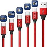 QGhappy Cable USB Tipo C, 5Pack[0.25M 0.5M 1M 2M 3M] 3A Cargador USB Tipo C Nylon Trenzado Cable USB C Carga Rápida y Sincronización de Datos para Samsung Galaxy S10 S9 S8, Huawei P30 P20 P10 Mate10