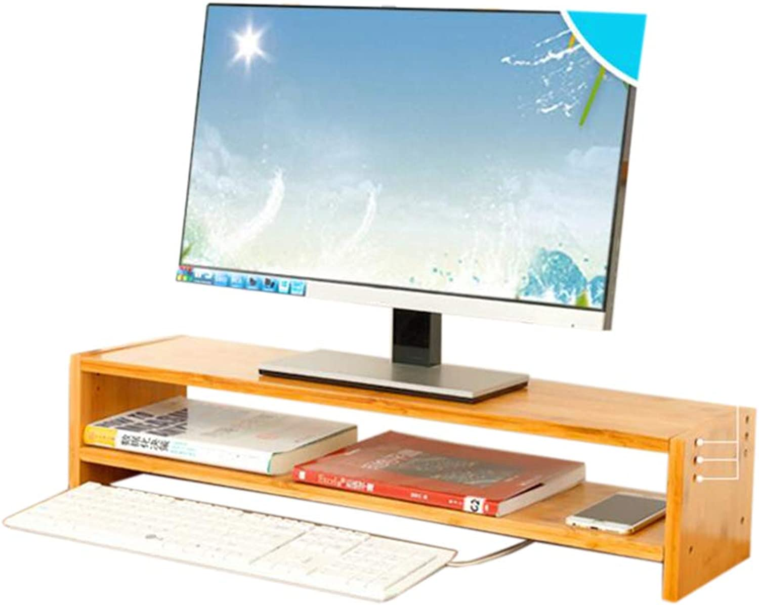 JCAFA Shelves Computer Monitor Stand Desktop Storage Rack Storage Management Rack Computer Stand Organizer with Drawer (color   B)