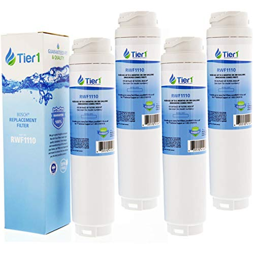 Tier1 Refrigerator Water Filter for Bosch 644845, REPLFLTR10, UltraClarity, 644845, 9000194412, 740570, 9000077095, 9000193914 - with Activated Carbon Media to Reduce Chlorine Taste and Odor - 4 Pack