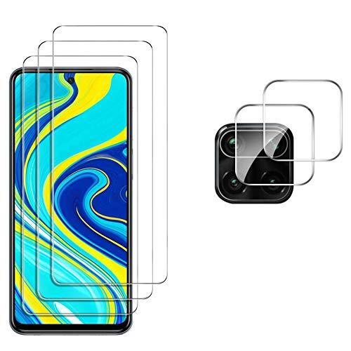 GESMA 3 Piezas Protector de Pantalla Compatible con Xiaomi Redmi Note 9 Pro/Note 9S, GESMA 2 Piezas Protector de Lente de Cámara, Cristal Templado de HD Anti-arañazos