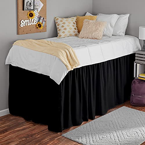 College Dorm Dust Ruffled Bed Skirt-Extra Long Extended Dorm Room Bed Skirt |100% Egyptian Cotton, 600-Thread Count| 42-Inch Drop| Extra Long Dorm Room Bed Skirt - [Black, Twin XL/42 Drop]