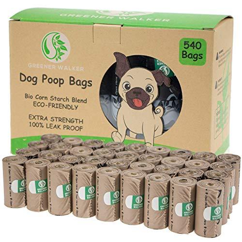 Greener Walker Bolsas para Excrementos de Perro,540 Unidades,Extra Grueso,Fuerte y 100% a Prueba de Fugas Biodegradable Bolsas para Caca de Perro(Marrón)