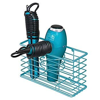 mDesign Farmhouse Metal Wire Bathroom Wall Mount Hair Care & Styling Tool Organizer Storage Basket for Hair Dryer Flat Iron Curling Wand Hair Straightener Brushes - Holds Hot Tools - Teal Blue