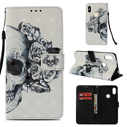 Funluna Xiaomi Redmi S2 Hülle, Flip Handy Stoßfest Lederhülle Brieftasche, Trageschlaufe, Kartenfächer, Magnetverschluss Handytasche für Xiaomi Redmi S2 - RoseundSchädel