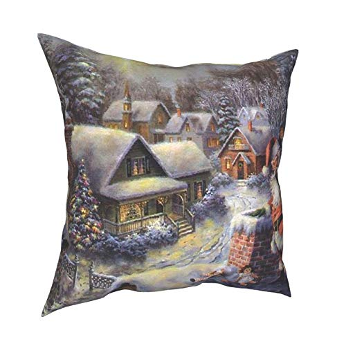 iksrgfvb Pillow Case Cushion Covers Santa Claus Giving Gifts Square Pillowcases for Living Room Sofa 18 x 18 inch
