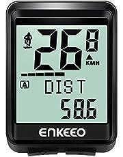 enkeeo サイクルコンピューター スピードメーター ワイヤレス 大画面表示 取付簡単 バックライト付き 自動電源ON/OFF ケイデンス スピード 距離 時間 気温 消費カロリーなどを計測