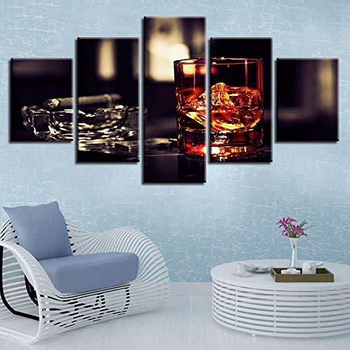 TOPRUN Cuadro Moderno En Lienzo 5 Piezas XXL Licor Copa Vino Cenicero Cigarro HD Abstracta Pared Imágenes Modulares Sala De Estar Dormitorios Decoración para El Hogar 150X80Cm