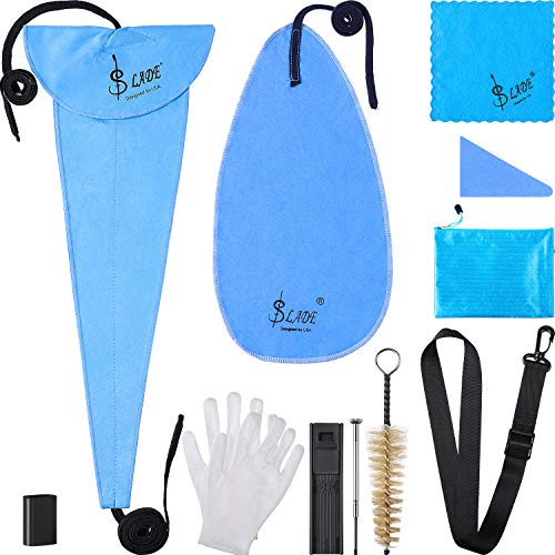 Boao 11 in 1 Saxophone Cleaning Care Kit for Clarinet, Flute and Wind Instrument, Include Storage Bag, Thumb Rest, Cleaning Cloth, Gloves, Mouthpiece Brush, Mini Screwdriver, Strap and Reed Case thumbnail image