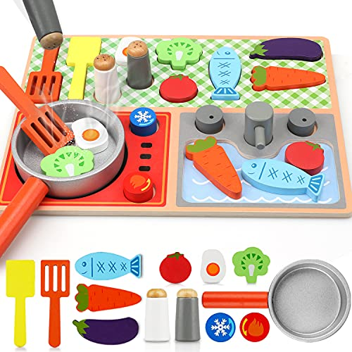 TOY Life Toy Wooden Kitchen Sets for Kids - Wooden Puzzles for Toddlers - Wooden Play Kitchen Accessories - Wooden Play Food Toys for Kids - Cooking Montessori Toy- Toy Stove Toys for Kids 3 4 5 6 7
