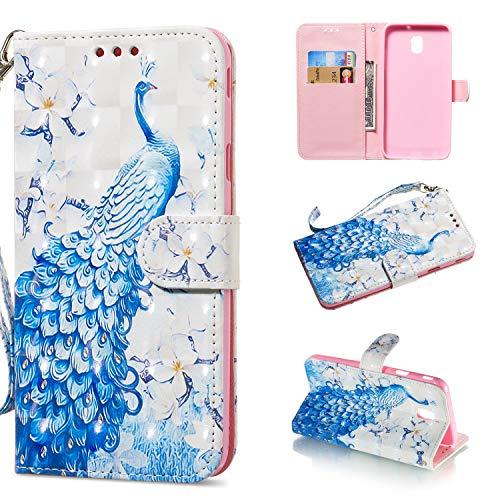 nancencen für Samsung Galaxy J730/J7 Duos 2017 Hülle - PU Leder Wallet Kartenfach Handyhülle Klapphülle Magnet Flip Cover Kompatibel für Samsung J730/J7 Duos 2017 - Blauer Pfau