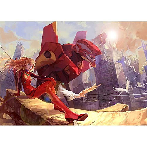 QINGQING Puzzle Evangelion Asuka Langley Soryu y EVA-02 Battel Ver Jigsaw Piezas 300/500/1000 (Size : 500)